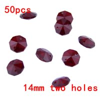Wholesale Wholesale Glass Beads For Sale - Sale!14mm 50pcs Dark Red Crystals Bead Glass Garland Strands Crystal Chandelier Beads For Lighting