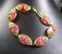 rosa teardrop perlen großhandel-Gold Plate CHINESISCH Rosa JADE Teardrop Bead Perlen Armreif 252577