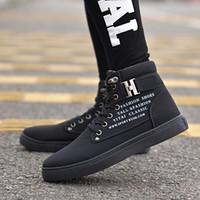 zapatos de lona de cuero invierno al por mayor-Zapatos de hombre de 6 colores de goma Sapatos Tenis Masculino Moda Otoño Invierno Botas de cuero para hombre Zapatos de hombre de lona alta casual