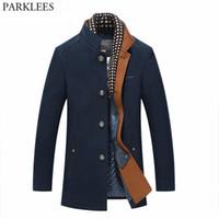 mens peacoat ceket toptan satış-Kalın Erkek Hendek Coats 2017 Kış Uzun Yün Trençkot Erkekler Slim Fit Casual Ceketler Peacoat Çift Yaka Yün Palto