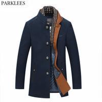 Wholesale Mens Double Vests - Thicker Mens Trench Coats 2017 Winter Long Wool Trench Coat Men Slim Fit Casual Jackets Peacoat Double Collar Woolen Overcoat