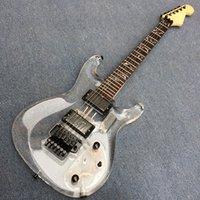 ingrosso luci chitarra elettrica acrilica-Chitarra elettrica in acrilico a 6 corde, testata in fabbrica per basso elettrico in acrilico trasparente a 6 corde, luce a LED