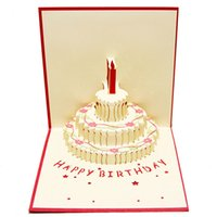 Wholesale birthday card cake design resale online - 3D Handcrafted Origami Birthday Cake Candle Design Greeting Card Envelope Invitation Card Kirigami Anniversary Up