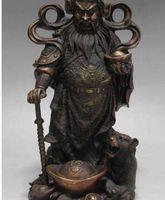 statuen tiger großhandel-13 Chinese Red Bronze Kupfer Krieger Mammon Reichtum Geld Gott mit Tiger Statue