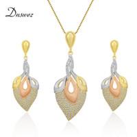 Wholesale level earrings resale online - Dnswez Italian Fashion Design Tricolor Gold Jewelry Sets for Women High Level Rhinestones Pave Setting Sandblasting Technology