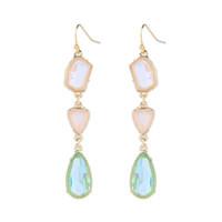 ingrosso pietra preziosa goccia d'acqua dell'orecchino-Nuovi gioielli di moda in lega di cristallo bianco verde lungo orecchini a goccia per le donne Regali di festa di nozze Gemstone Water Drop Earring