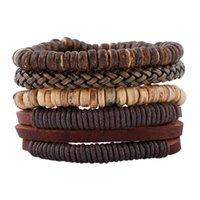 ingrosso gioielli in catene di cuoio-Chaomo puro fatto a mano minimalista vintage braccialetto braccialetto fai da te gioielli in pelle di vacchetta guscio di noce di cocco catena di perline regalo in pelle cordame