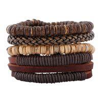 jóias de correntes de couro venda por atacado-Chaomo puro handmade minimalista terno do vintage pulseira DIY knit jóias de couro Coconut shell frisado cadeia cordão de couro presente