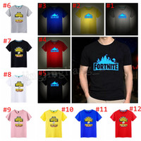 Wholesale fluorescent t shirts - 12 styles Fortnite Short Sleeve T-shirt Casual Glow In Dark Summer Fluorescent Print T-shirt fashion women men top MMA194