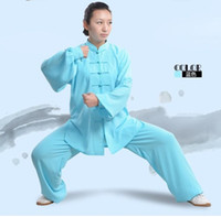 Wholesale suit chi resale online - hot sale Traditional Chinese Tai Chi Clothing Long Sleeve Kung Fu mascot Uniforms Wushu TaiChi Suit Martial arts Exercise Clothes