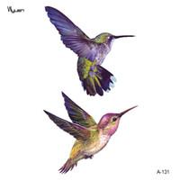 tatuaje de ave al por mayor-Wyuen Nuevo Diseño Colibrí Fake Tattoo Original Flor Impermeable Temporal Brazo Tatoo Pegatinas Body Art Bird Tattoos A-131