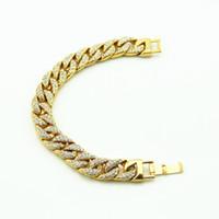 bracelet diamants simulés achat en gros de-Diamant Simulé Pour Hommes De Luxe Bracelets Bracelets Haute Qualité Plaqué Or Iced Out Iced Miami Bracelet Cubain Hip Hop