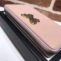 Wholesale Studded Leather Purses - The new style famous fashion brand women's long purse high quality real leather butterfly studded dinner package delivery box and Dust bag