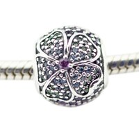 Glorious Bloom Multi-Colored CZ Silver Beads For Woman DIY Jewelry Making Silver Charms Fit Original 925 Silver Charms Bracelet & Necklace