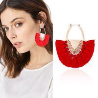 boho perlen großhandel-Boho Tropfen Dangle Fringe Ohrringe Charms Vintage Ethnische Perlen Fan-förmigen Quaste Ohrringe Frauen Brincos Modeschmuck