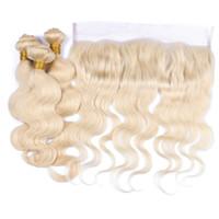 Wholesale platinum blonde bundles for sale - Group buy Blonde Human Hair Weaves With Lace Frontal Platinum Blonde Body Wave Lace Frontal With Bundles European Hair Virgin Unprocess Bundles