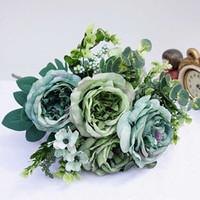 vase retro toptan satış-Ev Için 1 Paket Yapay Plastik Çiçekler Vazolar Odası Düğün Dekorasyon Noel Ipek Retro Şakayık Gelin Buketi Sahte Bitki