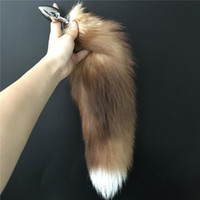 Wholesale girl toys plugs for sale - 40cm quot Real Genuine Crystal Fox Fur Tail Plug keychain bag charm plug Cosplay Toy