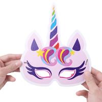 favores de la fiesta de cumpleaños de la flor al por mayor-Flor del arco iris Kids Girls Unicornio fiesta de cumpleaños temática favores Decoración Juego Máscara Favor Regalos 23.5 * 19cm