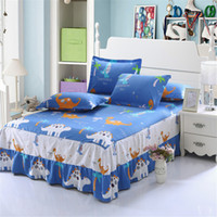 Discount pink animal print bedding - Fashion 3pcs blue white Animal printing bedspread 100% cotton Dinosaur bedding bed skirt pillowcase bedding bed sets twin queen