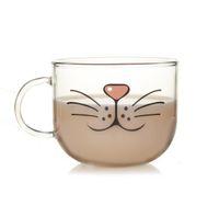 Wholesale face mugs - Novelty Glass Cup Cat Face Mugs Coffee Tea Milk Breakfast Mug Creative Gifts 540ml