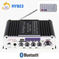entrada de micro al por mayor-HY803 Mini Amplificador Amplificador de Coche Amplificador Bluetooth 40W + 40W FM MIC MP3 para uso en el hogar del coche de la motocicleta Soporte AC 220V o DC 12V de entrada
