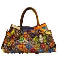 bolsa natural venda por atacado-Caerlif 2016 moda Real 100% Genuíno Couro Natural Patchwork Bolsas de flores Mulheres Messenger Bag Purse Colorido grandes bolsas