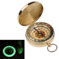 Wholesale portable navigation car online - Portable Brass Pocket Compass Sports Camping Hiking Fluorescence Compass Navigation Camping Tools