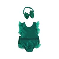 Wholesale Boutique summer one piece swimsuit Girls baby children solid color flying sleeves one piece baby swimsuit headband set