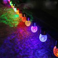 ingrosso giardino di rattan-New LED Solar Energy String Light Rattan Ball Crackle Outdoor Garden Cortile Prato Cottage Festival Holiday Luci Decorazione