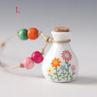 Wholesale Ceramic Bottle Vase - 2018 new Ceramic jewelry vase perfume bottle Necklace Pendant Jewellery