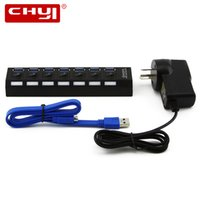 Wholesale uk accessories - High Speed USB 3.0 HUB 7 Ports with Power Adapter EU AU US UK 5Gbps Micro USB HUB Splitter for PC Peripherals Accessories
