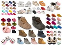Wholesale wholesale shoe soles for babies - Soft Sole Leather Moccasins Moccs Baby Booties Toddler Tassel Shoes Crib Shoes Prewalker Baby Sport Sneakers styles for choose