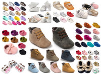 Wholesale Baby Crib Shoe Sizes - Soft Sole Leather Moccasins Moccs Baby Booties Toddler Tassel Shoes Crib Shoes Prewalker Baby Sport Sneakers 300 styles for choose