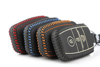 Wholesale kia smart key remote - Key Rings Leather Metal Remote Smart Key Case Ring Key Chain Cover For Kia Sportage 2011 2012 2013 2014 2015 2016 2017