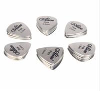 Wholesale Acoustic Guitar Plectrum - 12pcs Bass Guitar Picks Stainless Steel Acoustic Electric Guitarra Plectrums 0.30mm Alice 12S Free Shipping