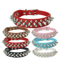Wholesale bite dog collar for sale - Bite Proof Metal Rivet Design Dog Collars Simulation Leather Pet Dog Rings Multi Color Size Can Choose Dogs Necklace New wn4 Z