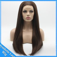 Wholesale 26 Inch Straight Wigs - Cosplay 16-26 Inch 180% Density Silky Straight Synthetic Lace Front   Full Lace Wig Heat Resistant Fiber With Baby Hair for Black Women