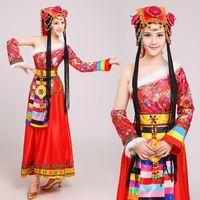 ingrosso chinese red tassel-Nuovo vestito tradizionale rosso etnico Tibet Stile mongolo Esibizione di danza Abbigliamento abbigliamento femminile costumi di danza popolare cinese