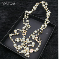 Wholesale celtic flowers resale online - Simulated pearls Beads Chain Necklace Hollow Camellia flowers Long Necklace Jewelry Gift cc channel layered
