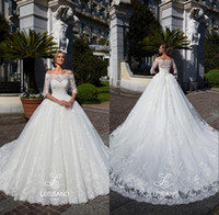 Wholesale white short shoulder detail for sale - Modest Lace Sweetheart Wedding Dresses Arabic Sheer Off Shoulders Appliqued Sweep Train Bridal Gowns Formal Vestidos de novia