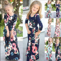Wholesale Christmas Baby Clothes - Kids Baby Girl Fashion Boho Long Maxi Dress Clothing Long Sleeve Floral Dress Baby Bohemian Summer Floral Princess dress KKA4375