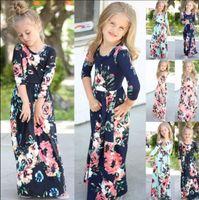 ropa de niña bohemia al por mayor-Niños bebé niña moda boho vestido largo maxi vestido de manga larga floral dress baby bohemio verano floral princesa dress kka4375