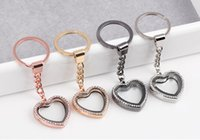 kayan cazibe locket anahtar zincirleri toptan satış-5 Adet DIY Rhinestone Kalp Locket Kolye Anahtarlıklar Yüzen Cam Lockets Charms Anahtarlık Anahtarlık Anahtarlık Araba Aksesuarları