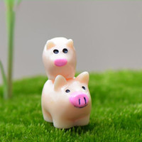 Wholesale small fairy toys online - Cartoon Pig Mother And Son Small Desktop Assembled Toys Handicraft Moss Terrarium Micro Landscape Ornaments Fairy Garden DIY Free DHL