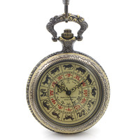 Wholesale Watch Rare - Rare Antique Style See Though Case Chinese Zodiac Dial Hand Wind Mechanical Mens Pocket Watch w Chain Promotion Price Xmas Gift