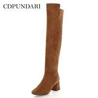 botas marrons venda por atacado-CDPUNDARI rebanho sobre o joelho botas mulheres coxa alta botas sapatos mulher de salto alto inverno preto marrom