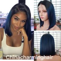 Wholesale blue bob wig - ombre bob Human Hair Wig Silky Straight Brazilian 1b blue bob Lace Front Wig Free Shipping