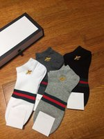 Wholesale Beige Gift Box - 4 pairs box bee embroidered men socks hight quality striped jacquard with original box unisex women cotton socks men women gifts