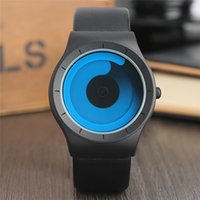 Wholesale Clock Boy - Creative Mens Watch Cool Blue Ocean Swirl Pointer Leather Analog Quartz Sport Wristwatch Fashion womens Boys New Concept Turntable Clock